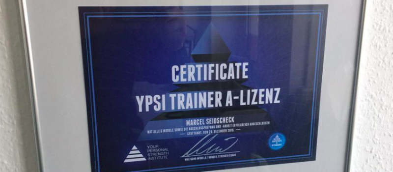 YPSI Trainer A Licence Wolfgang Unsoeld Certification Personaltrainer A Lizenz